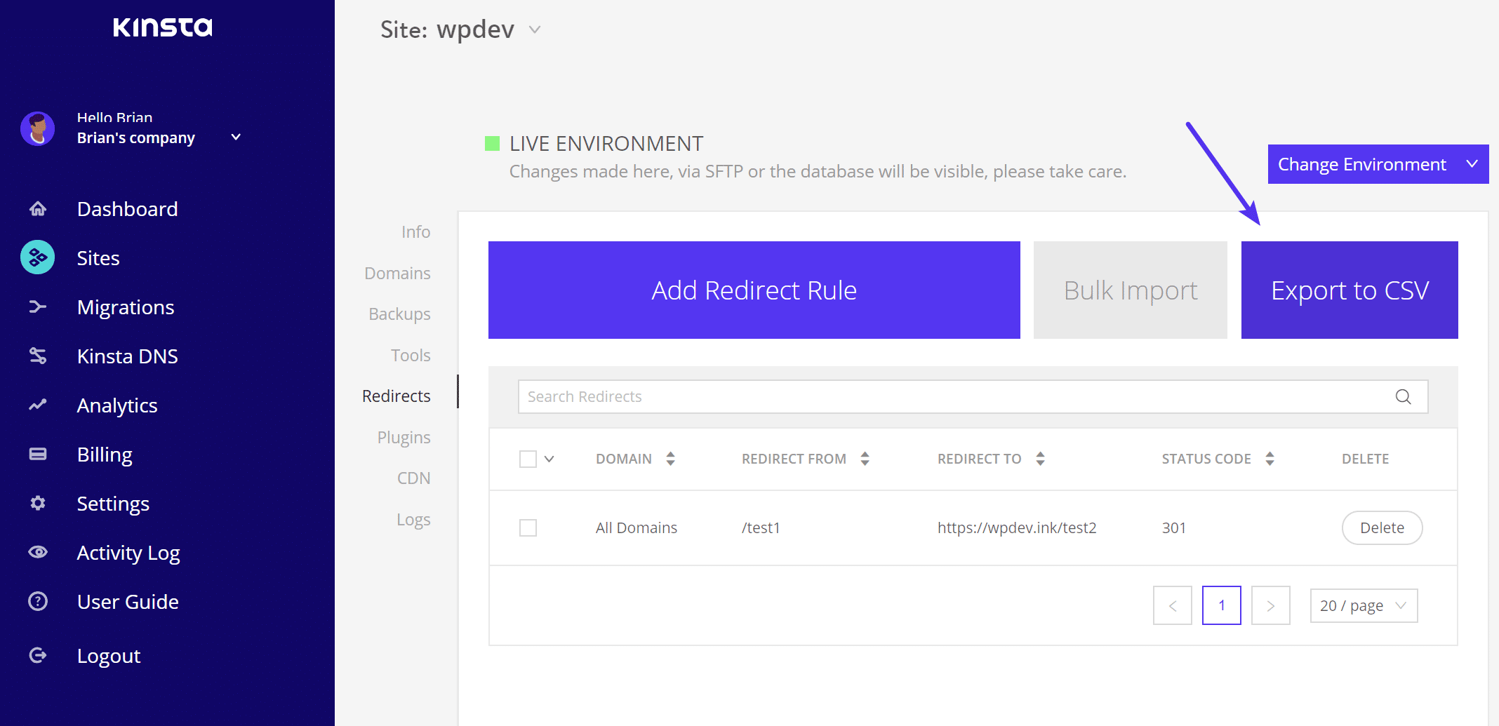 Export Redirects to CSV, New Backup UI, and Quick Navigation